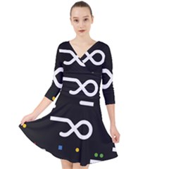 Line Circle Triangle Polka Sign Quarter Sleeve Front Wrap Dress