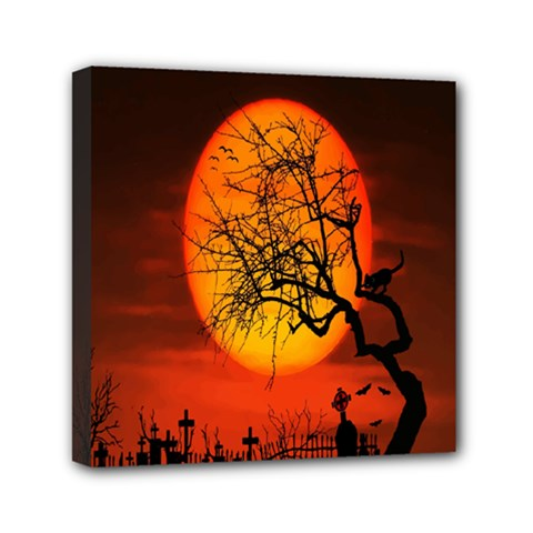 Helloween Midnight Graveyard Silhouette Mini Canvas 6  X 6  by Mariart