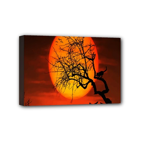 Helloween Midnight Graveyard Silhouette Mini Canvas 6  X 4  by Mariart