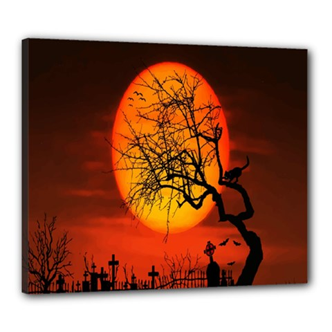 Helloween Midnight Graveyard Silhouette Canvas 24  X 20  by Mariart