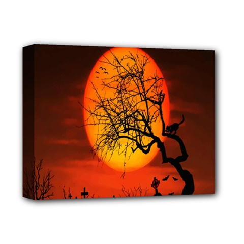 Helloween Midnight Graveyard Silhouette Deluxe Canvas 14  X 11  by Mariart