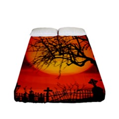 Helloween Midnight Graveyard Silhouette Fitted Sheet (full/ Double Size) by Mariart
