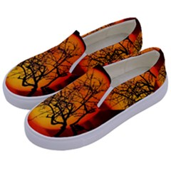 Helloween Midnight Graveyard Silhouette Kids  Canvas Slip Ons by Mariart