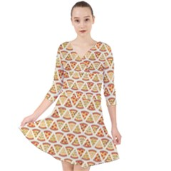 Food Pizza Bread Pasta Triangle Quarter Sleeve Front Wrap Dress