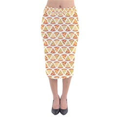 Food Pizza Bread Pasta Triangle Velvet Midi Pencil Skirt by Mariart