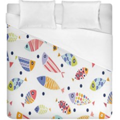 Love Fish Seaworld Swim Blue White Sea Water Cartoons Rainbow Duvet Cover (king Size) by Mariart