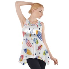 Love Fish Seaworld Swim Blue White Sea Water Cartoons Rainbow Side Drop Tank Tunic by Mariart