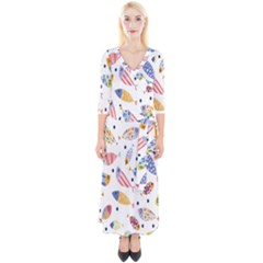 Love Fish Seaworld Swim Blue White Sea Water Cartoons Rainbow Quarter Sleeve Wrap Maxi Dress by Mariart