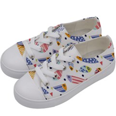 Love Fish Seaworld Swim Blue White Sea Water Cartoons Rainbow Kids  Low Top Canvas Sneakers by Mariart