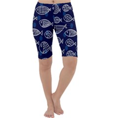 Love Fish Seaworld Swim Blue White Sea Water Cartoons Cropped Leggings  by Mariart