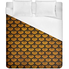 Scales3 Black Marble & Yellow Grunge Duvet Cover (california King Size) by trendistuff