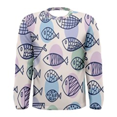 Love Fish Seaworld Swim Blue White Sea Water Cartoons Rainbow Polka Dots Men s Long Sleeve Tee