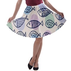 Love Fish Seaworld Swim Blue White Sea Water Cartoons Rainbow Polka Dots A Line Skater Skirt