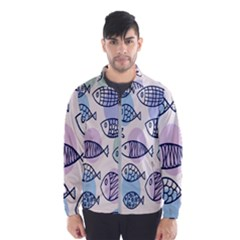 Love Fish Seaworld Swim Blue White Sea Water Cartoons Rainbow Polka Dots Wind Breaker (men)