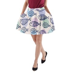 Love Fish Seaworld Swim Blue White Sea Water Cartoons Rainbow Polka Dots A-line Pocket Skirt by Mariart