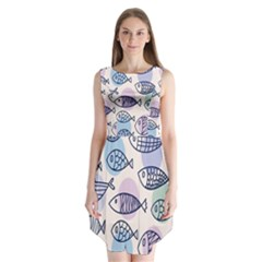 Love Fish Seaworld Swim Blue White Sea Water Cartoons Rainbow Polka Dots Sleeveless Chiffon Dress