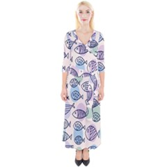 Love Fish Seaworld Swim Blue White Sea Water Cartoons Rainbow Polka Dots Quarter Sleeve Wrap Maxi Dress