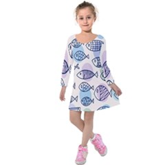 Love Fish Seaworld Swim Blue White Sea Water Cartoons Rainbow Polka Dots Kids  Long Sleeve Velvet Dress