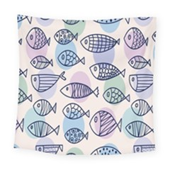 Love Fish Seaworld Swim Blue White Sea Water Cartoons Rainbow Polka Dots Square Tapestry (large)