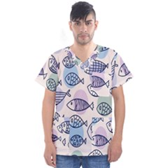 Love Fish Seaworld Swim Blue White Sea Water Cartoons Rainbow Polka Dots Men s V Neck Scrub Top
