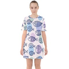 Love Fish Seaworld Swim Blue White Sea Water Cartoons Rainbow Polka Dots Sixties Short Sleeve Mini Dress
