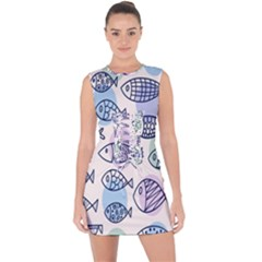 Love Fish Seaworld Swim Blue White Sea Water Cartoons Rainbow Polka Dots Lace Up Front Bodycon Dress