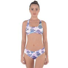 Love Fish Seaworld Swim Blue White Sea Water Cartoons Rainbow Polka Dots Criss Cross Bikini Set