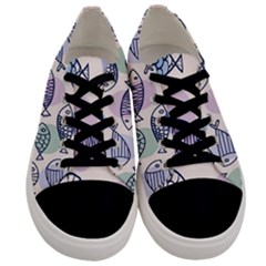 Love Fish Seaworld Swim Blue White Sea Water Cartoons Rainbow Polka Dots Men s Low Top Canvas Sneakers