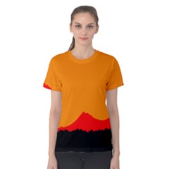Mountains Natural Orange Red Black Women s Cotton Tee
