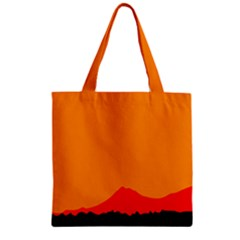 Mountains Natural Orange Red Black Zipper Grocery Tote Bag
