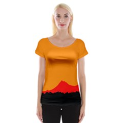 Mountains Natural Orange Red Black Cap Sleeve Tops