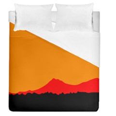 Mountains Natural Orange Red Black Duvet Cover (queen Size)