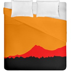 Mountains Natural Orange Red Black Duvet Cover Double Side (king Size)