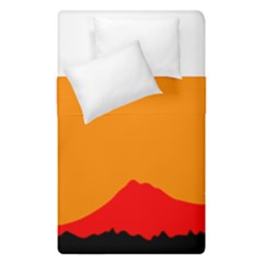 Mountains Natural Orange Red Black Duvet Cover Double Side (single Size)