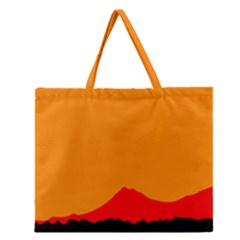 Mountains Natural Orange Red Black Zipper Large Tote Bag by Mariart