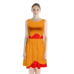 Mountains Natural Orange Red Black Sleeveless Waist Tie Chiffon Dress