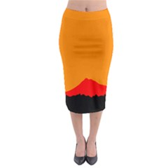 Mountains Natural Orange Red Black Midi Pencil Skirt
