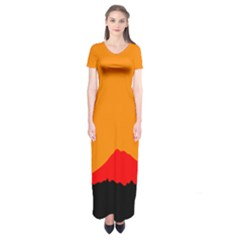 Mountains Natural Orange Red Black Short Sleeve Maxi Dress by Mariart