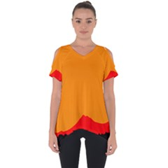 Mountains Natural Orange Red Black Cut Out Side Drop Tee