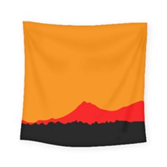 Mountains Natural Orange Red Black Square Tapestry (small)