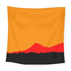 Mountains Natural Orange Red Black Square Tapestry (large)