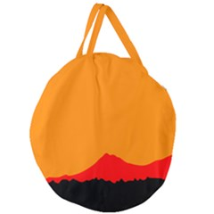 Mountains Natural Orange Red Black Giant Round Zipper Tote by Mariart