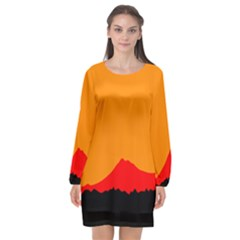 Mountains Natural Orange Red Black Long Sleeve Chiffon Shift Dress