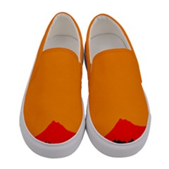 Mountains Natural Orange Red Black Women s Canvas Slip Ons