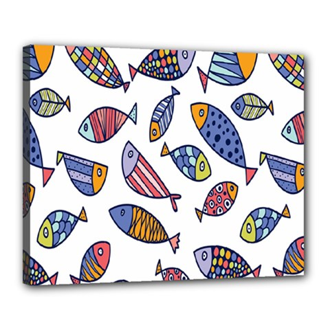 Love Fish Seaworld Swim Rainbow Cartoons Canvas 20  X 16