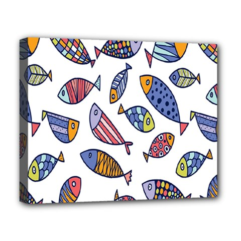 Love Fish Seaworld Swim Rainbow Cartoons Deluxe Canvas 20  X 16   by Mariart