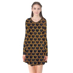 Scales3 Black Marble & Yellow Grunge (r) Flare Dress by trendistuff