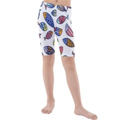 Love Fish Seaworld Swim Rainbow Cartoons Kids  Mid Length Swim Shorts by Mariart