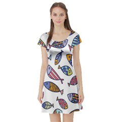 Love Fish Seaworld Swim Rainbow Cartoons Short Sleeve Skater Dress