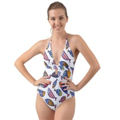 Love Fish Seaworld Swim Rainbow Cartoons Halter Cut Out One Piece Swimsuit